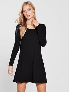 v-by-very-long-sleeve-jersey-swing-dress-black