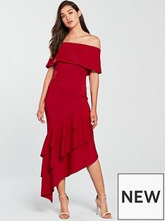 true-violet-bardot-floral-scuba-frill-dress-red
