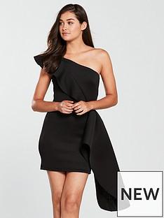 true-violet-true-violet-one-shoulder-scuba-peplum-mini-dress-black