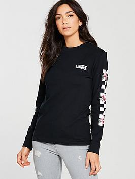 Vans Long Sleeve Patchwork Floral Top - Black
