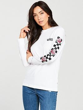 Vans Long Sleeve Patchwork Floral Top - White