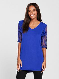 v-by-very-lace-sleeve-longline-top-electric-blue