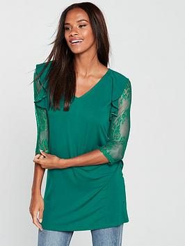v-by-very-lace-sleeve-longline-top-dark-green