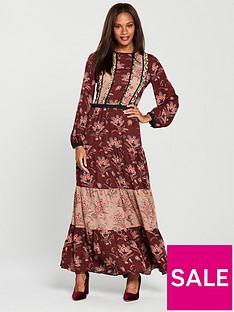 maison-scotch-mixed-print-maxi-dress