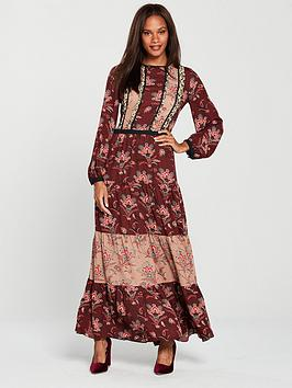Maison Scotch Mixed Print Maxi Dress