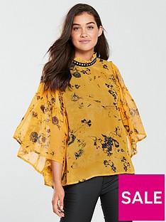 religion-religion-poise-frill-sleeve-printed-blouse