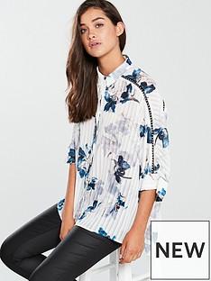 religion-glisten-printed-pleat-detail-shirt-whiteblue