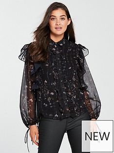 religion-luster-frill-detail-printed-blouse-jet-black