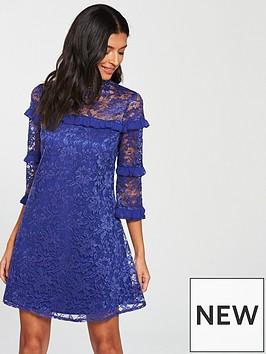 little-mistress-ruffle-detailnbsplace-shift-dress-cobalt