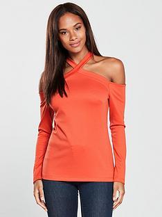 v-by-very-cross-strap-top-orange