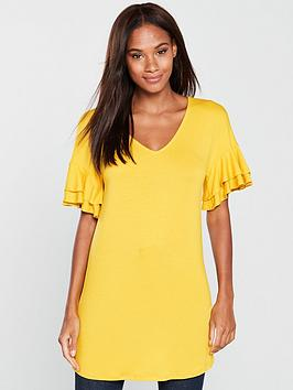 v-by-very-double-frill-longline-top-mustard
