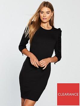 v-by-very-frill-sleeve-bodycon-dress-black