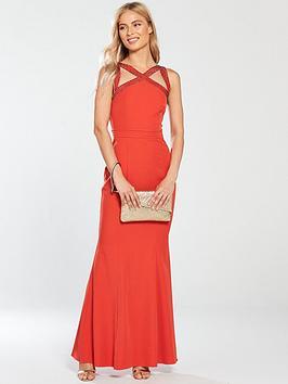 Little Mistress Embellished Cross Strap Maxi Dress - Burnt Orange