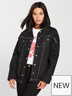 religion-motive-studded-longline-denim-jacket-washed-black
