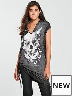 religion-religion-graphic-print-v-neck-jersey-top