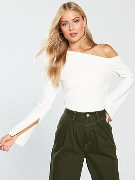 v-by-very-split-sleeve-one-shoulder-top-ivory
