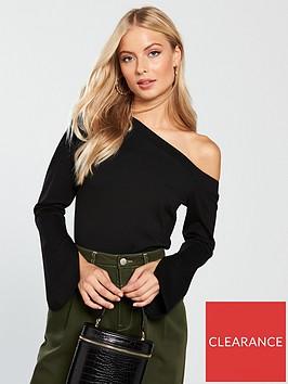 v-by-very-split-sleeve-one-shoulder-top-black