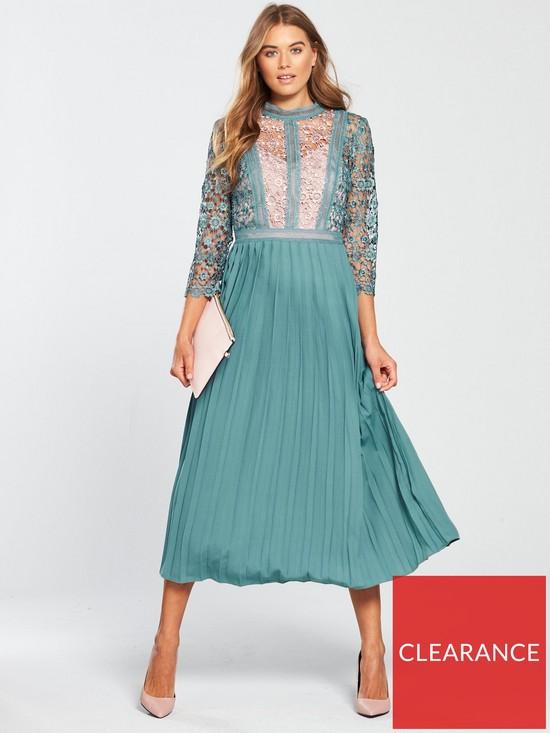 fc788af9e879 Little Mistress High Neck Fit And Flare Midi Dress - Aqua | very.co.uk