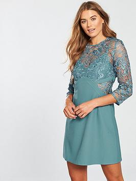 Little Mistress Crochet Shift Dress - Aqua