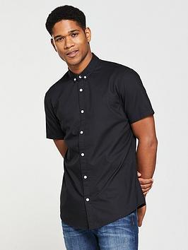 v-by-very-mens-short-sleeved-oxford-shirt-black