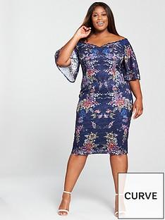little-mistress-curve-lace-printed-bardot-midi-dress-navy