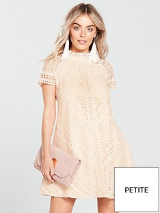 little-mistress-petite-short-sleeve-lace-shift-dress-nude