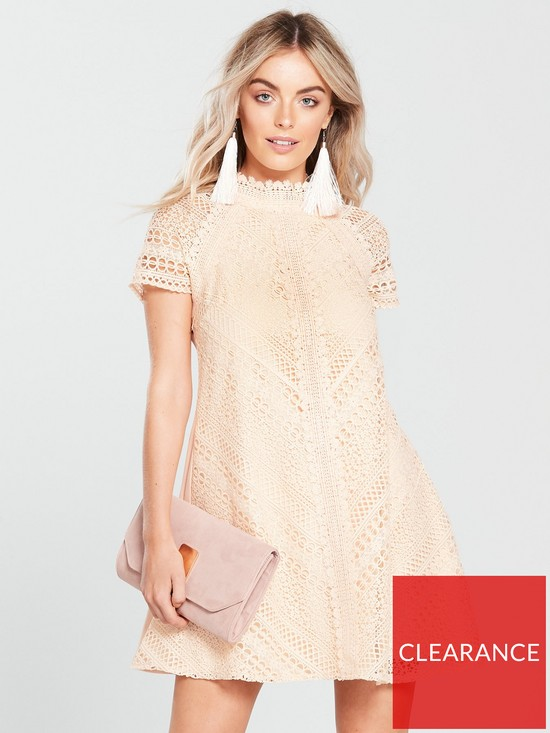 fcf6d707b032 Little Mistress Petite Short Sleeve Lace Shift Dress - Nude | very.co.uk