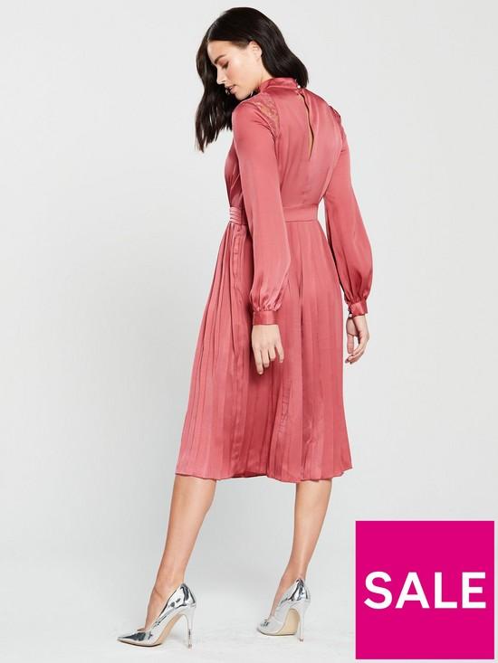 a525cc81d4 Little Mistress High Neck Sienna Satin Fit and Flare Midi Dress ...
