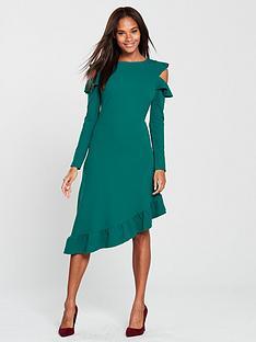 v-by-very-frill-asymmetric-cold-shoulder-dress-green