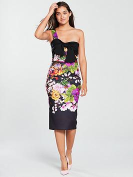 true-violet-one-shoulder-bow-midi-bodycon-dress-black