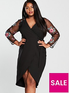 little-mistress-curve-v-necknbspbodycon-dress-black