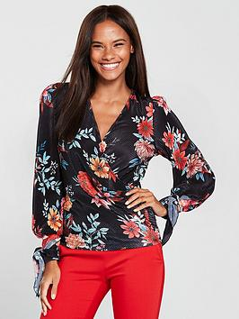v-by-very-tie-cuff-wrap-top-floral-print