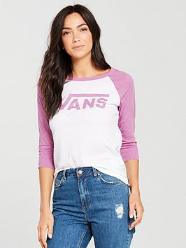 Vans Flying V Raglan Tee - White/Pink