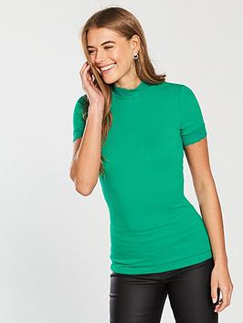 v-by-very-lace-polo-fitted-rib-top-apple-greennbsp