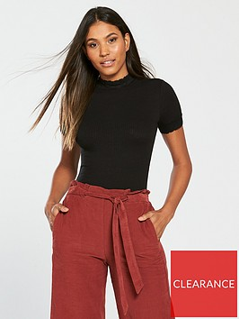 v-by-very-lace-polo-fitted-rib-top-blacknbsp