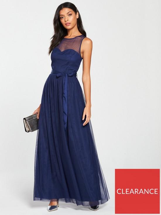25cd0fcb3ef Little Mistress Mesh Top Maxi Dress - Navy
