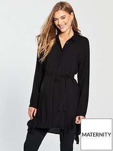 mama-licious-maternity-bluebell-tunic-shirt-dress-with-tie-black