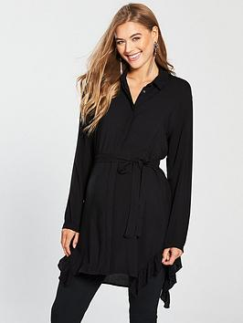 Mama-Licious Maternity Bluebell Tunic Shirt Dress With Tie - Black