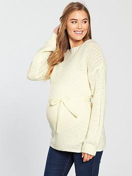Mama-Licious Maternity Vibeke Knit Jumper With Tie Detailing - White