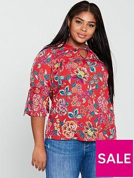 junarose-fadinanbspthree-quarter-tie-detail-printed-blouse-red