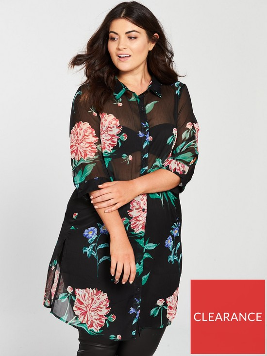 ff7b36adb JUNAROSE Paliva Sheer Printed Longline Shirt - Black   very.co.uk
