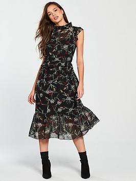 vero-moda-becca-high-neck-floral-printed-sleeveless-dress-black