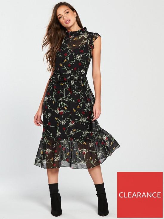 45ea4a3cf043 Vero Moda Becca High Neck Floral Printed Sleeveless Dress - Black ...
