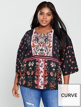 junarose-folksynbspthree-quarter-sleeve-printed-loose-blouse