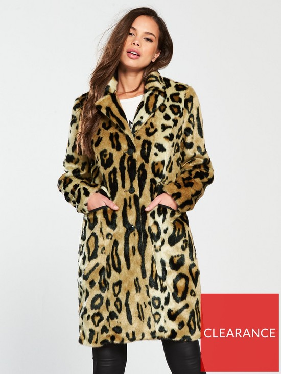 35f9a9704f6d Vero Moda Leopard Print Coat - Mink | very.co.uk