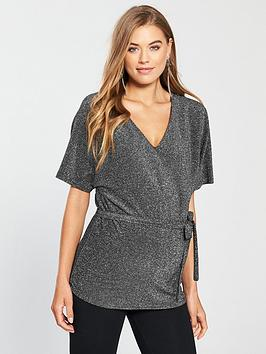 Mama-Licious Maternity Lanna Lurex Jersey Top With Tie Detailing - Black