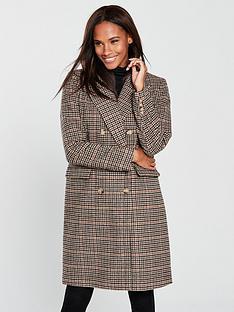vero-moda-royal-check-double-breasted-coat-rust