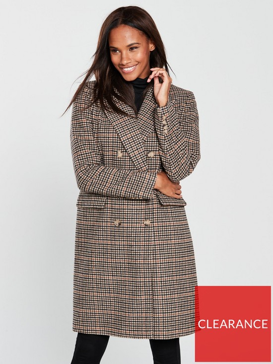 d0f40ce9c8f Vero Moda Royal Check Double Breasted Coat - Rust