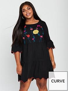 junarose-junarose-heva-34-sleeve-embroidered-tiered-dress
