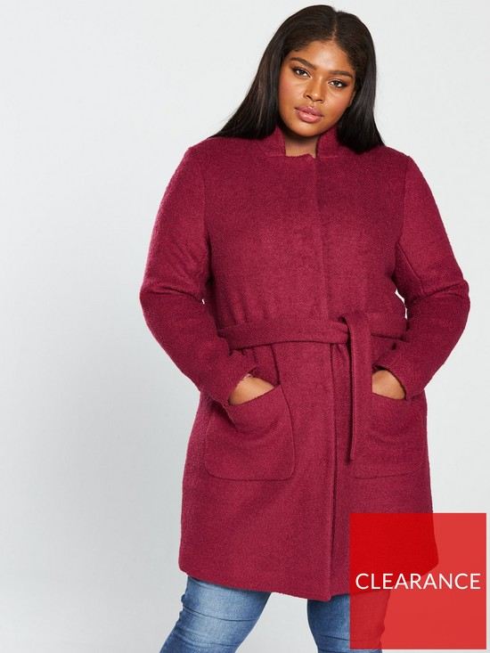 7496781c9ece JUNAROSE Hasla Collarless Wrap Coat - Rumba Red   very.co.uk